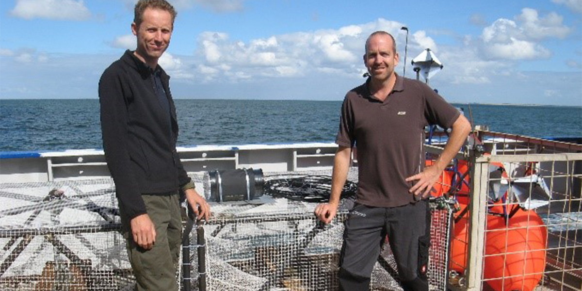 The big cages (with Joost and Joop) that will be placed on the sea bottom