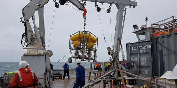 The 'lander' being escorted safely back on board