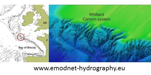 Location and multibeam profile of the seafloor of Whittard Canyon