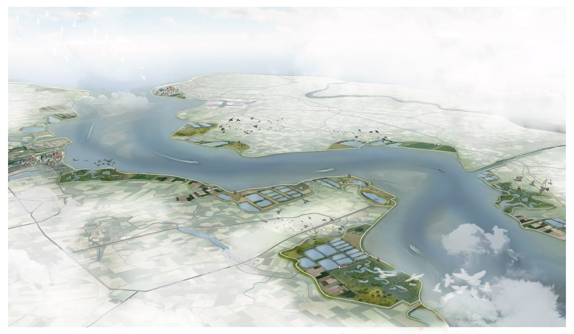 Impression of Double Dikes with the transitional polders in the Western Scheldt. Illustration by Defacto