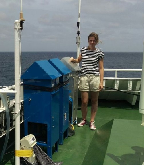 On top of the bridge of R/V James Cook crossing the North Atlantic collecting dust samples