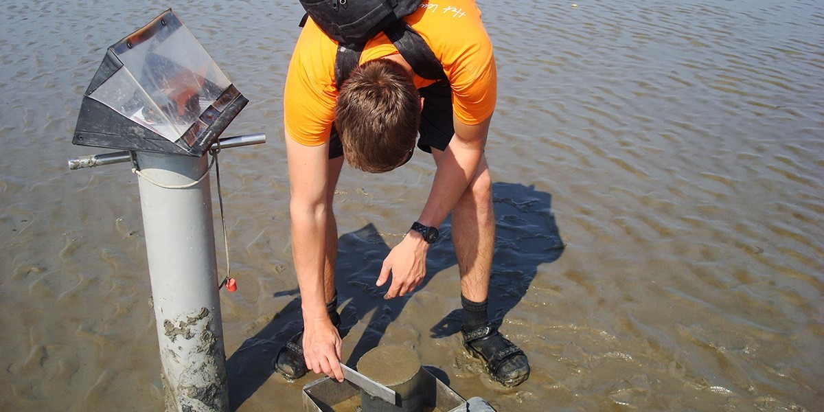 Taking samples on the mudflat.