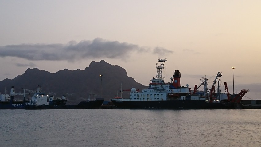 RV Meteor in the harbour of Mindelo, Sao Vicente. In the background the mountaint that is called: 'the sleeping man'