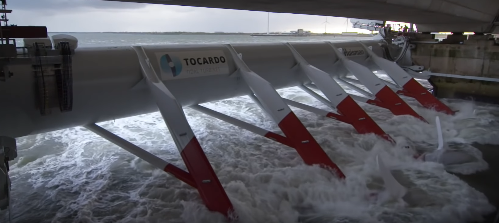 Tidal current turbines in the Oosterschelde storm surge barrier. Photo: Tocardo