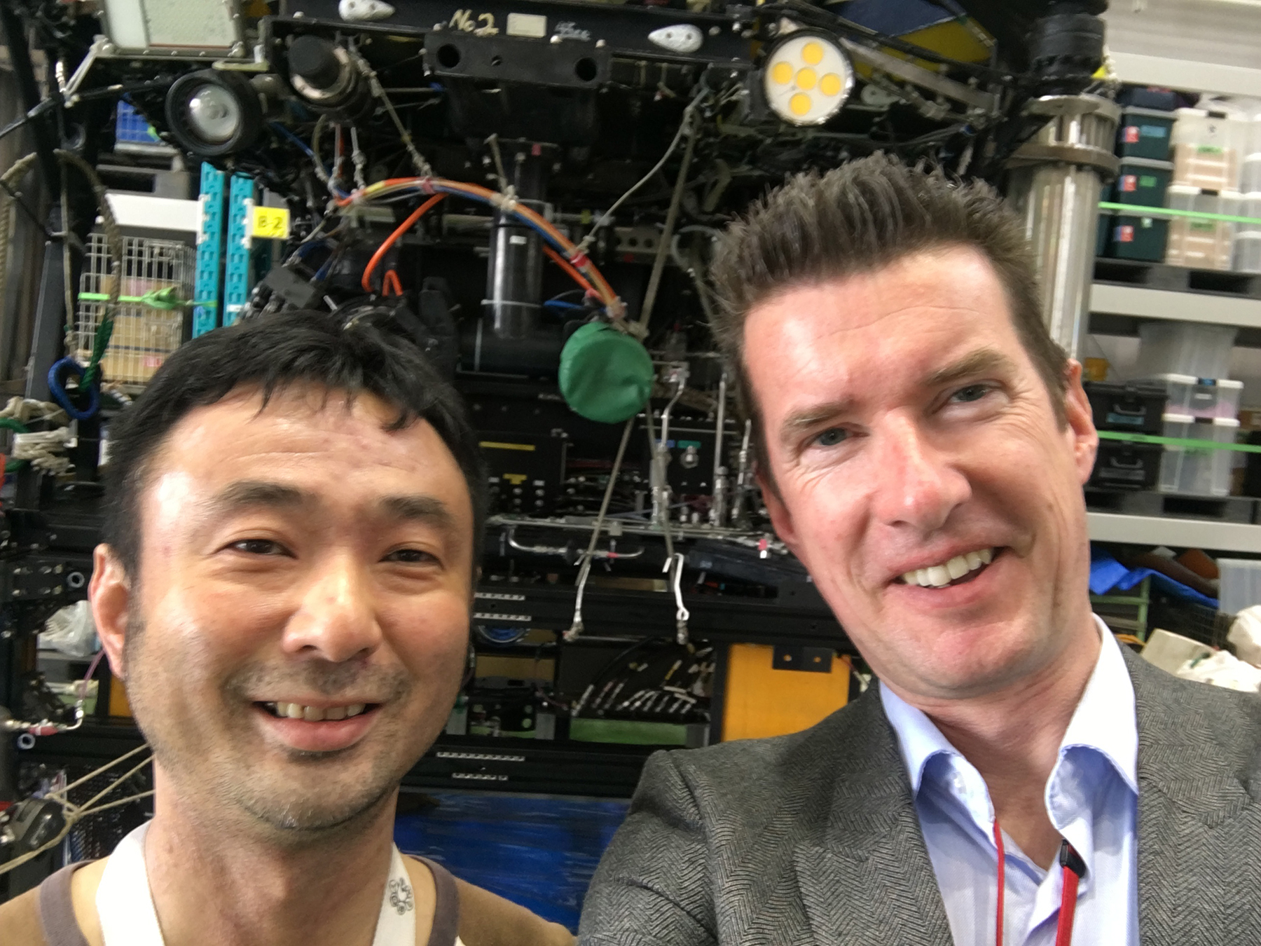 Dr. Takashi Toyofuku, of JAMSTEC and Prof. Dr. Gert-Jan Reichart of NIOZ in front of JAMSTEC Remotely Operated Vehicle (ROV) in Yokohama.
