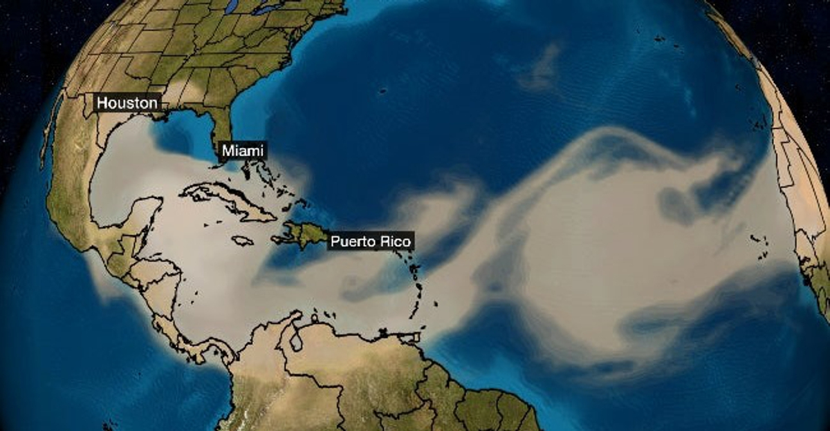 Godzilla carries huge amounts of dust across the Atlantic Ocean  (image from severe weather.com)