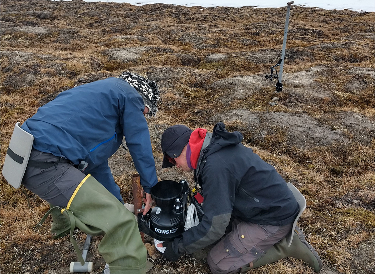 7 June 2019 Misha and Thomas installing the weather station, needed to record the severities of the Arctic summer weather.