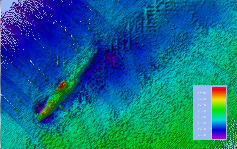 Echosounder image of sunken world war 1 submarine of the coast of Vlieland. Above figure created using QPS Qimera software