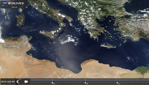 Lybian dust blowing across the Mediterranean Sea. Image by NASA from their earthobservatory website