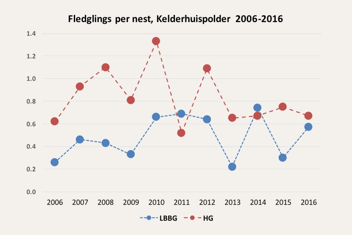 Fledgling per nest 2006-2016