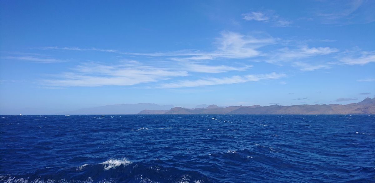 Land ahoy! The southern part of the island of Sao Vicente, Cape Verde Islands