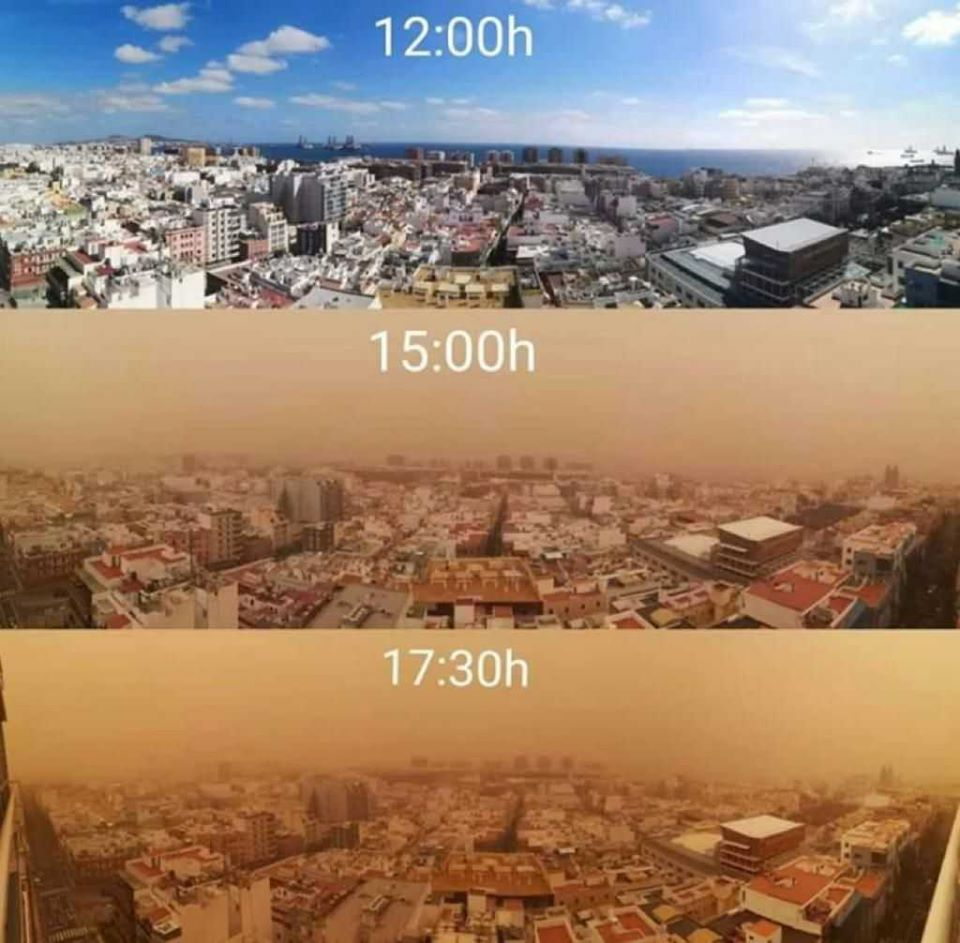 Dusty view on Tenerife (from severe weather Europe website)