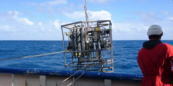 CTD with in situ pumps attached to the frame getting deployed to filter methane eating bacteria.