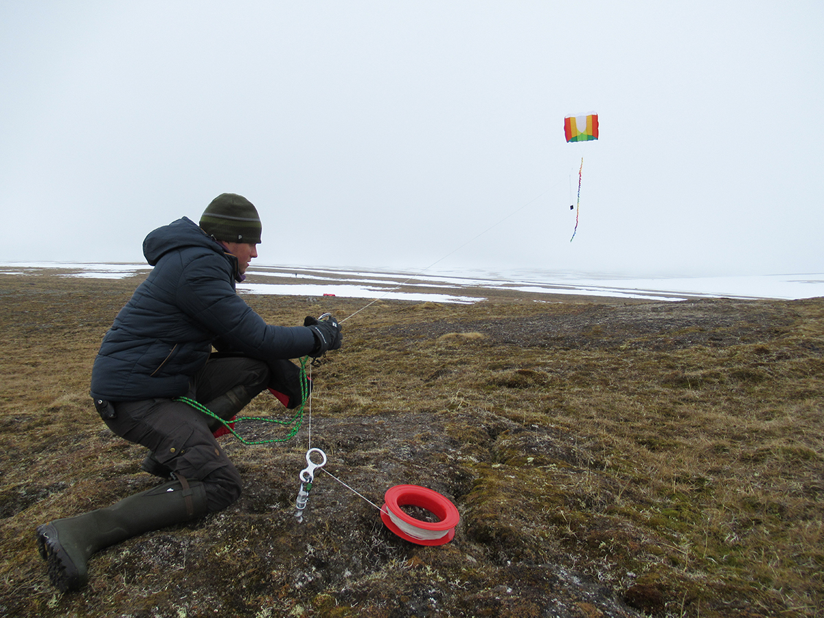 9 June 2019 Thomas flies a camera attached to a kite to record snow cover from above.