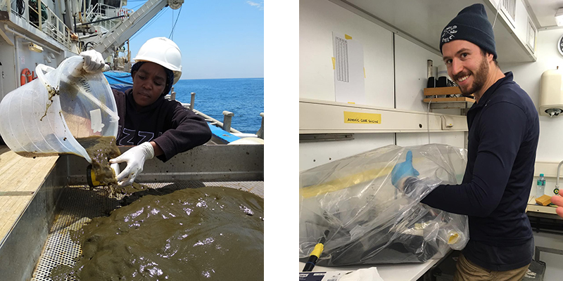 (L) Veronica, our collaborator from the University of Namibia, sieving the smelly mud to see if there are any larger organisms. (R) Working in the glovebag, to prevent any oxygen from reaching our samples.