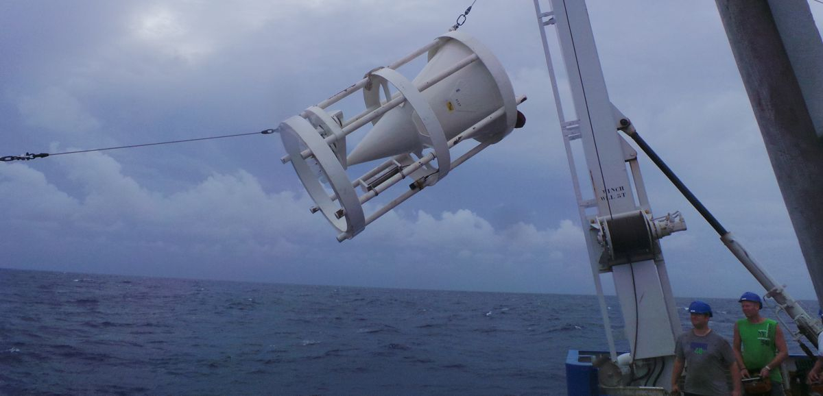 A sediment trap is being recovered from on board RV Pelagia
