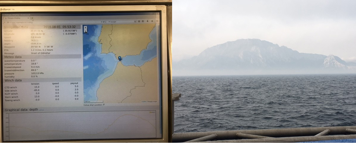 On board electronic chart showing ship position, and Moroccan cliffs in rising sun on African side of Strait of Gibraltar. Photo: Erik Zettler.