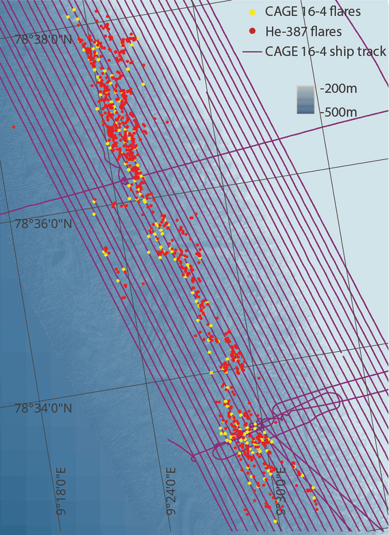 Gas flare locations in the study area. The yellow dots represent seeps observed during the winter, while the red dots represent seeps observed during the summer. During the colder season  they decrease their emissions by 43 percent. Credit: B. Ferré/CAGE