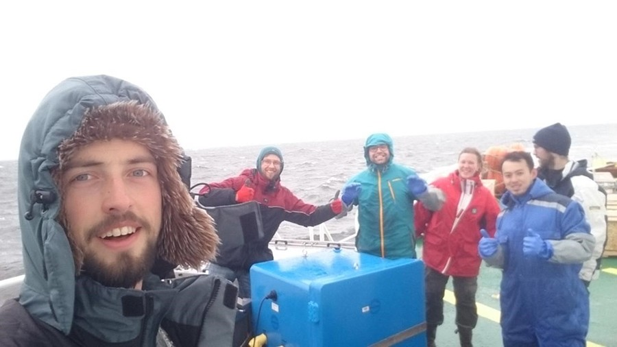 We are enjoying the wildlife in the Arctic while handling our samples that are in incubators on the deck.