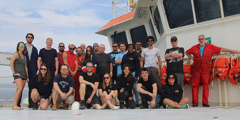 Group picture with all the ship's and scientific crew (except the first officer who dutifully stayed on the bridge).