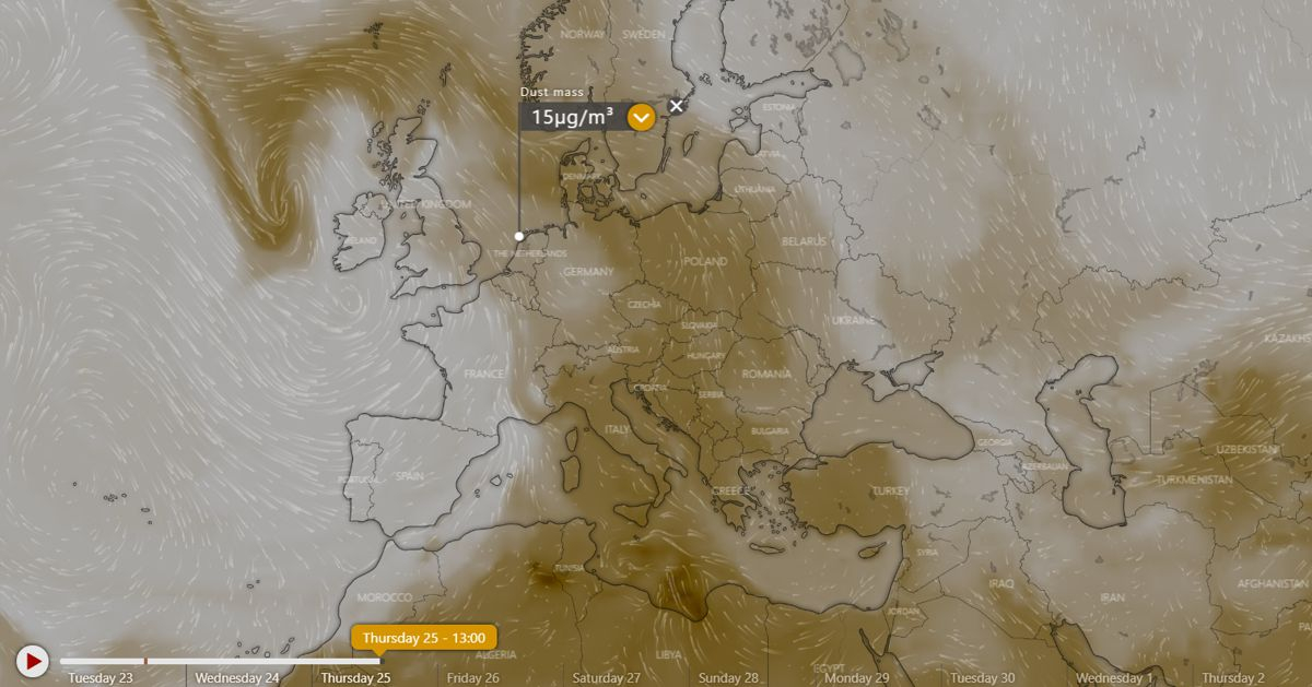 Windy.com projection of dust particles for 25 April, noon