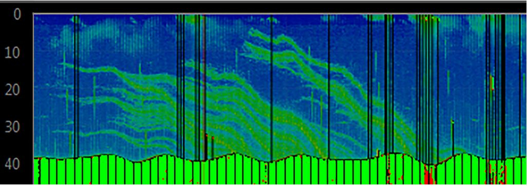 A sonar image of the seafloor and the overlying water column along a track from East to West. Methane bubbles are visible as acoustic flares (coloured in green) in the water column.