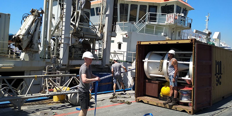 Our equipment, including sediment traps that collect sinking particles, arriving in Cape Town