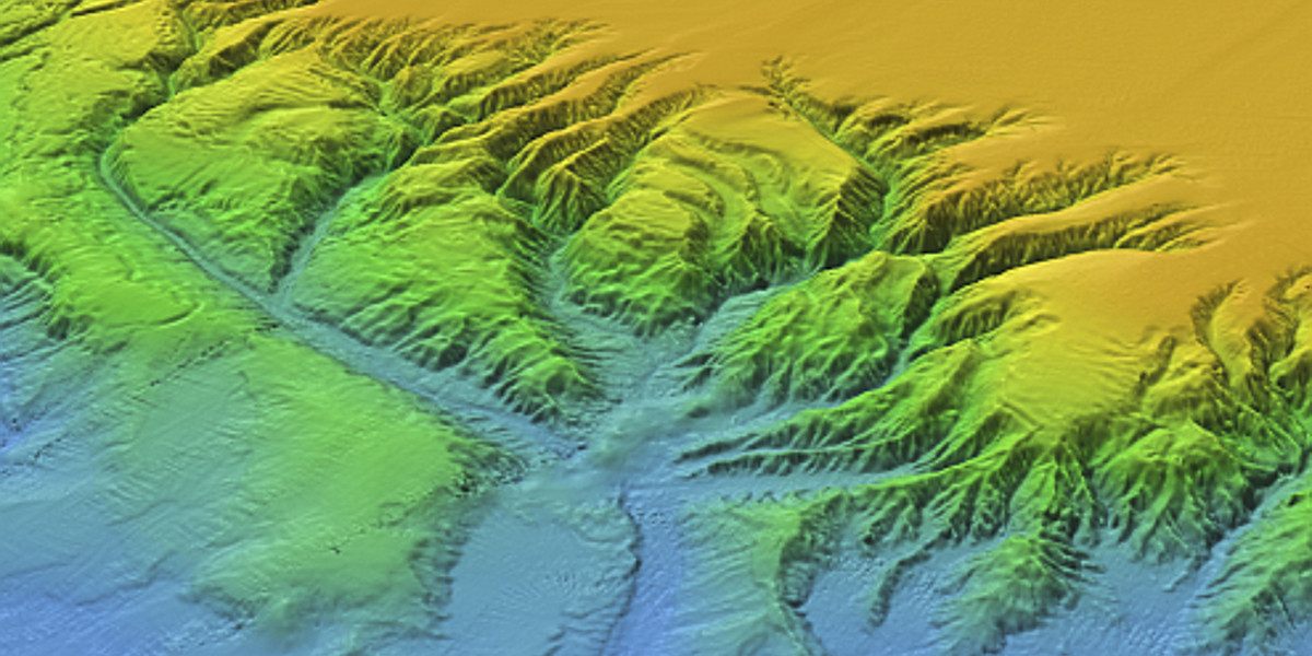 Multibeam image of an underwater canyon