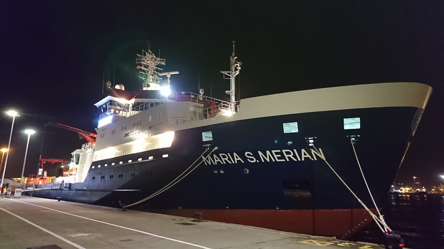 RV Maria S. Merian by night.