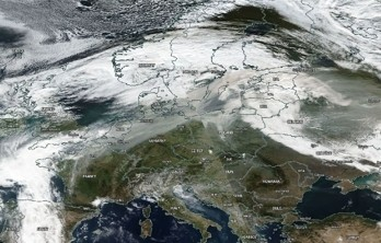 Satellite image (© NASA) of 17 October 2017 showing dirty clouds over northern Europe