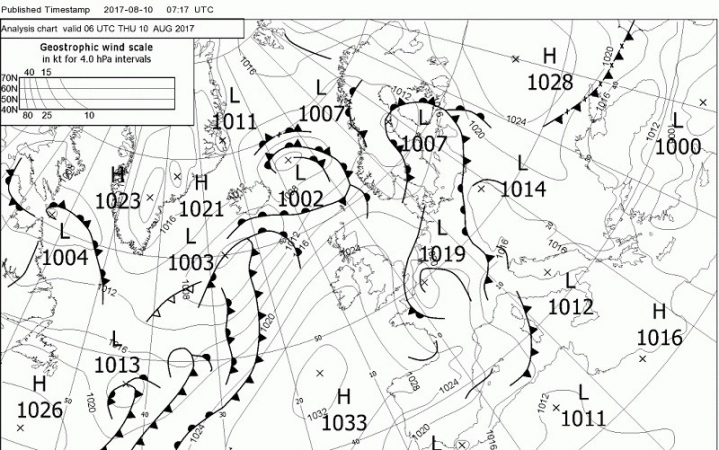 Low Pressure Areas Are Seen South Of Iceland On The Weather Map, High  Pressure Near Tenerife. The Low Pressure Areas Move To The East, The Azores  High Stays ...